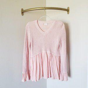 Altar'd State Blush Pink Knit Blouse Flowy V-neck